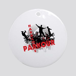 Hardcore Parkour Grunge City Ornament (Round)